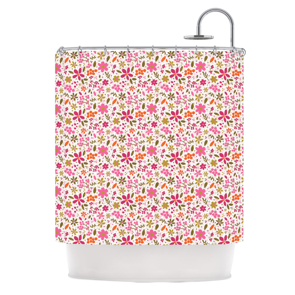 "Carolyn Greifeld ""Pink Flowers Garden"" Pink Red Shower Curtain - KESS InHouse"