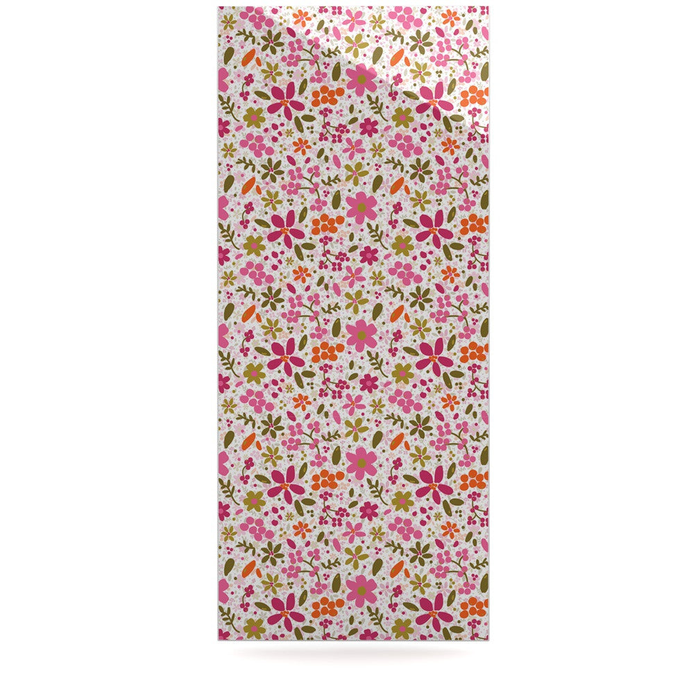 "Carolyn Greifeld ""Pink Flowers Garden"" Pink Red Luxe Rectangle Panel - KESS InHouse  - 1"