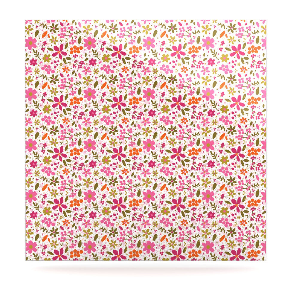 "Carolyn Greifeld ""Pink Flowers Garden"" Pink Red Luxe Square Panel - KESS InHouse  - 1"