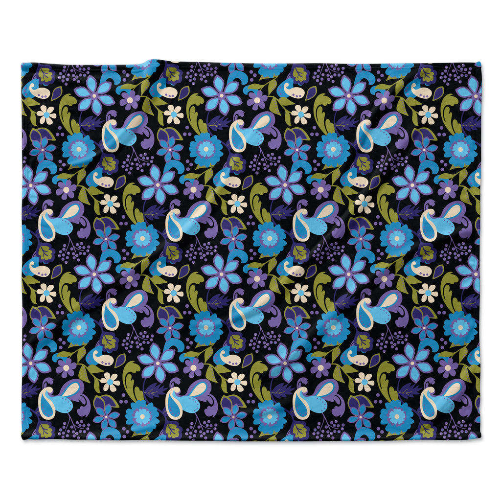 "Carolyn Greifeld ""Purple & Blue Florals"" Lavender Aqua Fleece Throw Blanket"