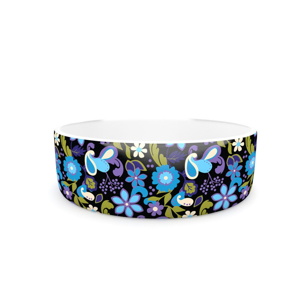 "Carolyn Greifeld ""Purple & Blue Florals"" Lavender Aqua Pet Bowl - KESS InHouse"