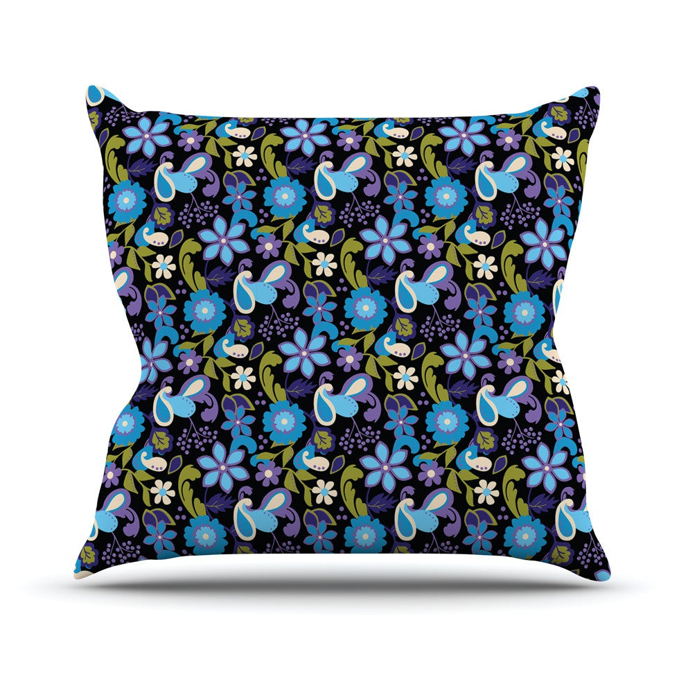 "Carolyn Greifeld ""Purple & Blue Florals"" Lavender Aqua Outdoor Throw Pillow - KESS InHouse  - 1"