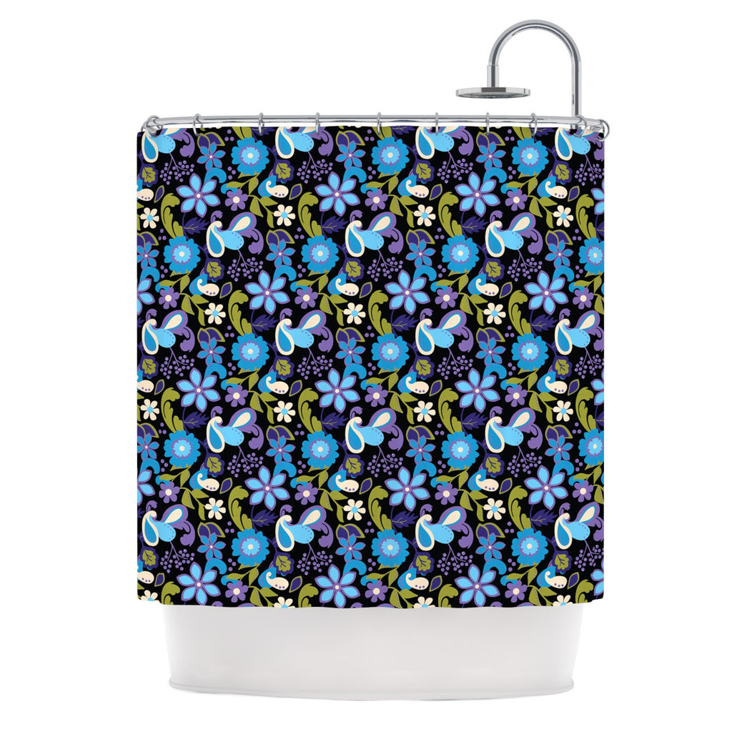 "Carolyn Greifeld ""Purple & Blue Florals"" Lavender Aqua Shower Curtain - KESS InHouse"