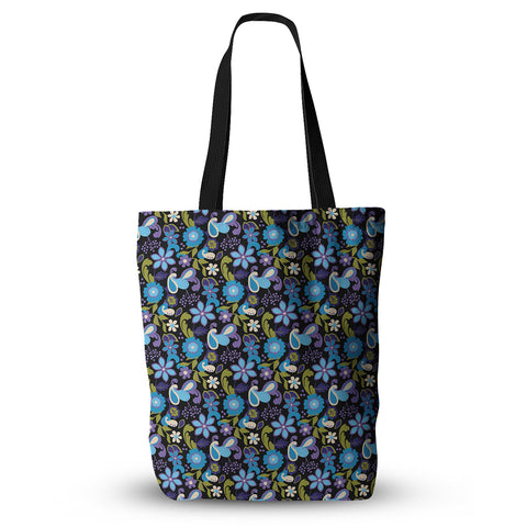 "Carolyn Greifeld ""Purple & Blue Florals"" Lavender Aqua Everything Tote Bag - KESS InHouse  - 1"