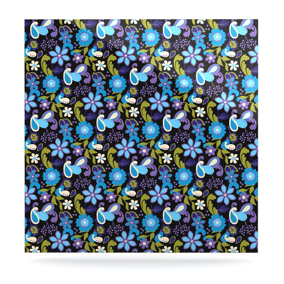 "Carolyn Greifeld ""Purple & Blue Florals"" Lavender Aqua Luxe Square Panel - KESS InHouse  - 1"