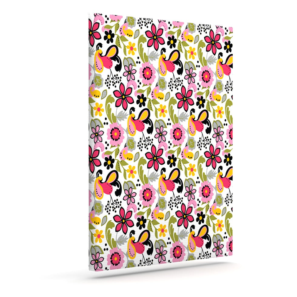 "Carolyn Greifeld ""Pretty Florals"" Pink Yellow Canvas Art - KESS InHouse  - 1"