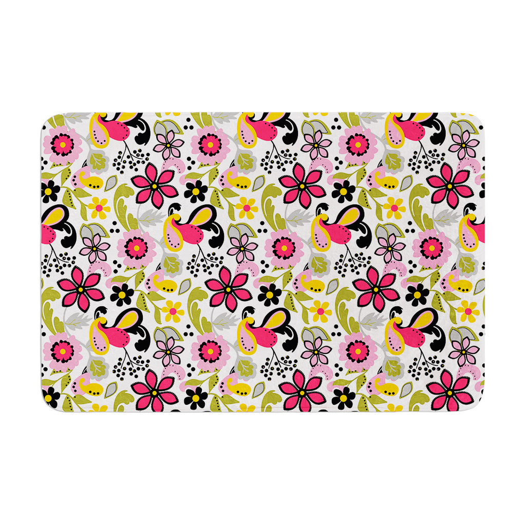 "Carolyn Greifeld ""Pretty Florals"" Pink Yellow Memory Foam Bath Mat - KESS InHouse"