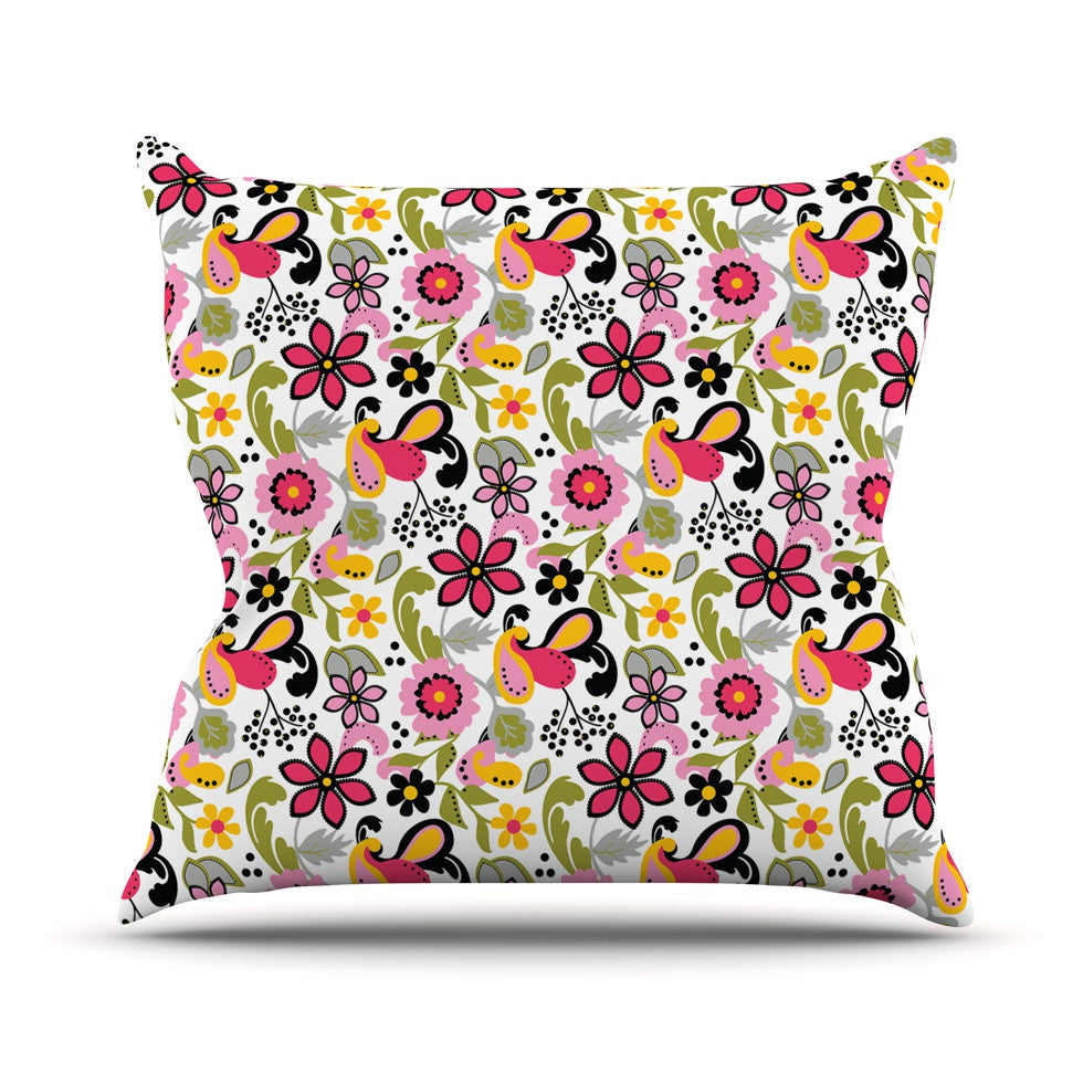 "Carolyn Greifeld ""Pretty Florals"" Pink Yellow Throw Pillow - KESS InHouse  - 1"