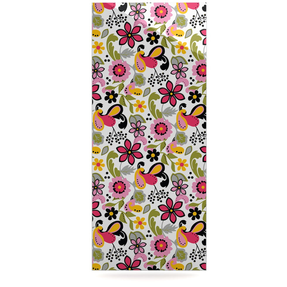 "Carolyn Greifeld ""Pretty Florals"" Pink Yellow Luxe Rectangle Panel - KESS InHouse  - 1"