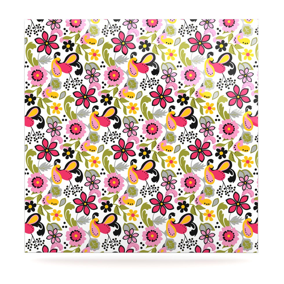 "Carolyn Greifeld ""Pretty Florals"" Pink Yellow Luxe Square Panel - KESS InHouse  - 1"