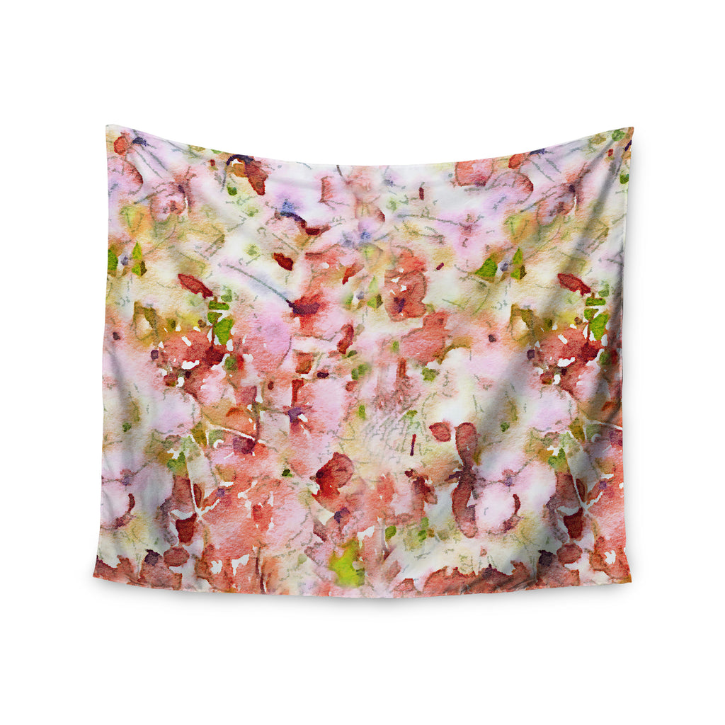 "Carolyn Greifeld ""Floral Fantasy"" Pink Abstract Wall Tapestry - KESS InHouse  - 1"