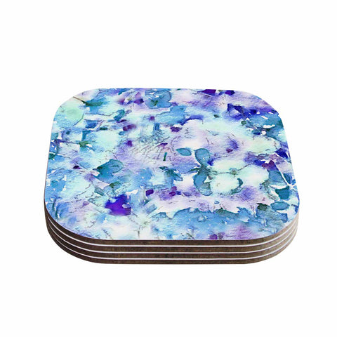 "Carolyn Greifeld ""Floral Fantasy Blue"" Purple White Coasters (Set of 4) - Outlet Item"