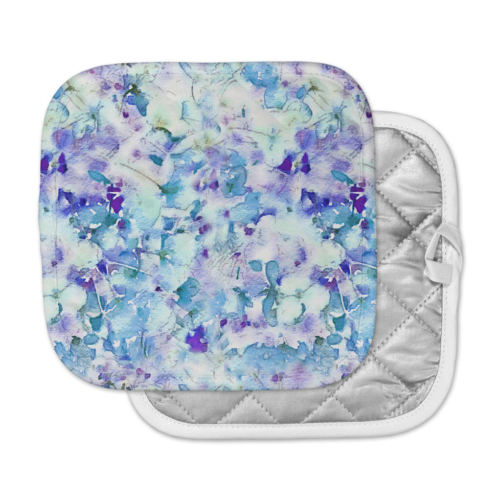"Carolyn Greifeld ""Floral Fantasy Blue"" Purple White Pot Holder"