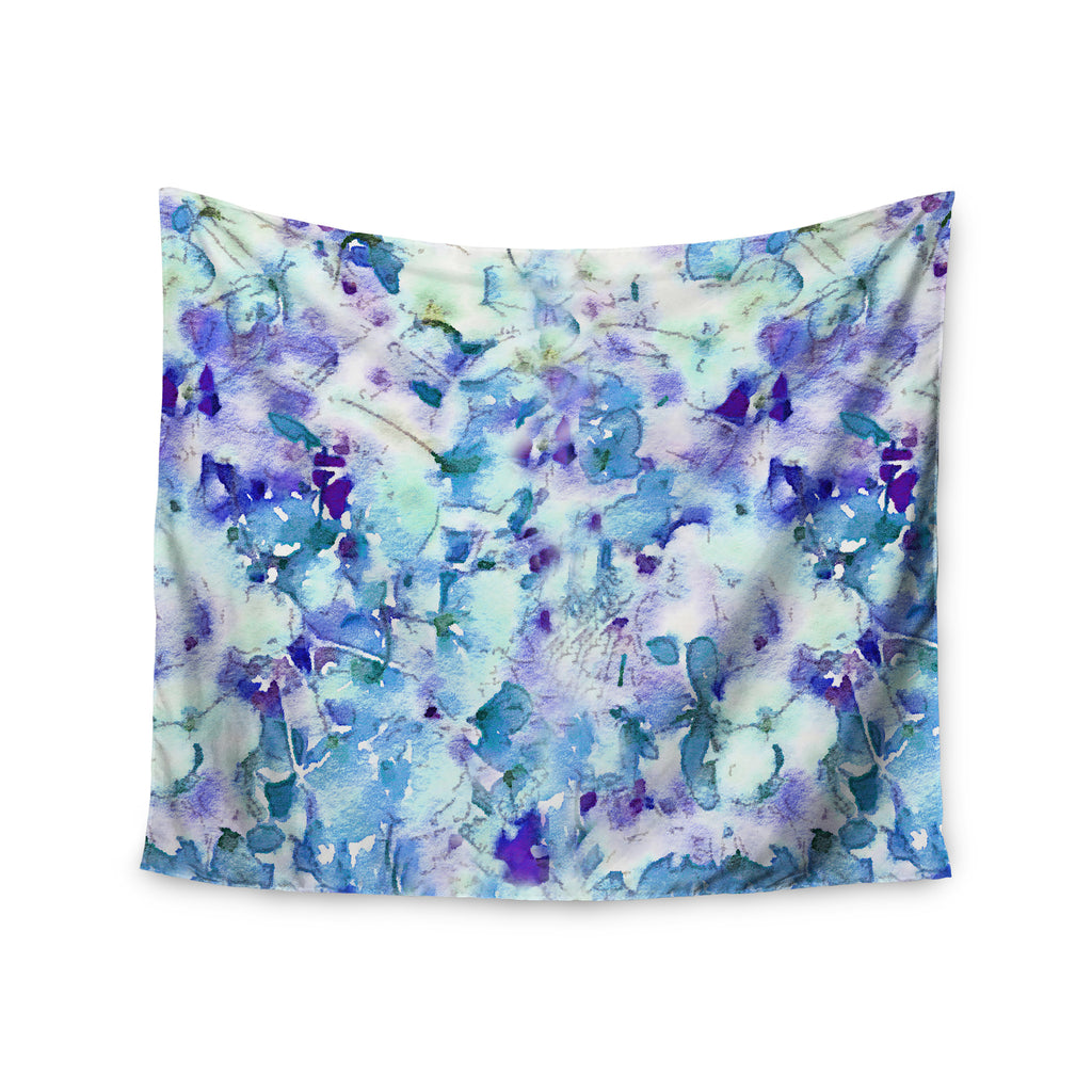 "Carolyn Greifeld ""Floral Fantasy Blue"" Purple White Wall Tapestry - KESS InHouse  - 1"