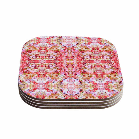 "Carolyn Greifeld ""Floral Reflections"" Pink Red Coasters (Set of 4) - Outlet Item"