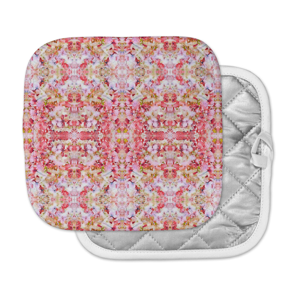 "Carolyn Greifeld ""Floral Reflections"" Pink Red Pot Holder"