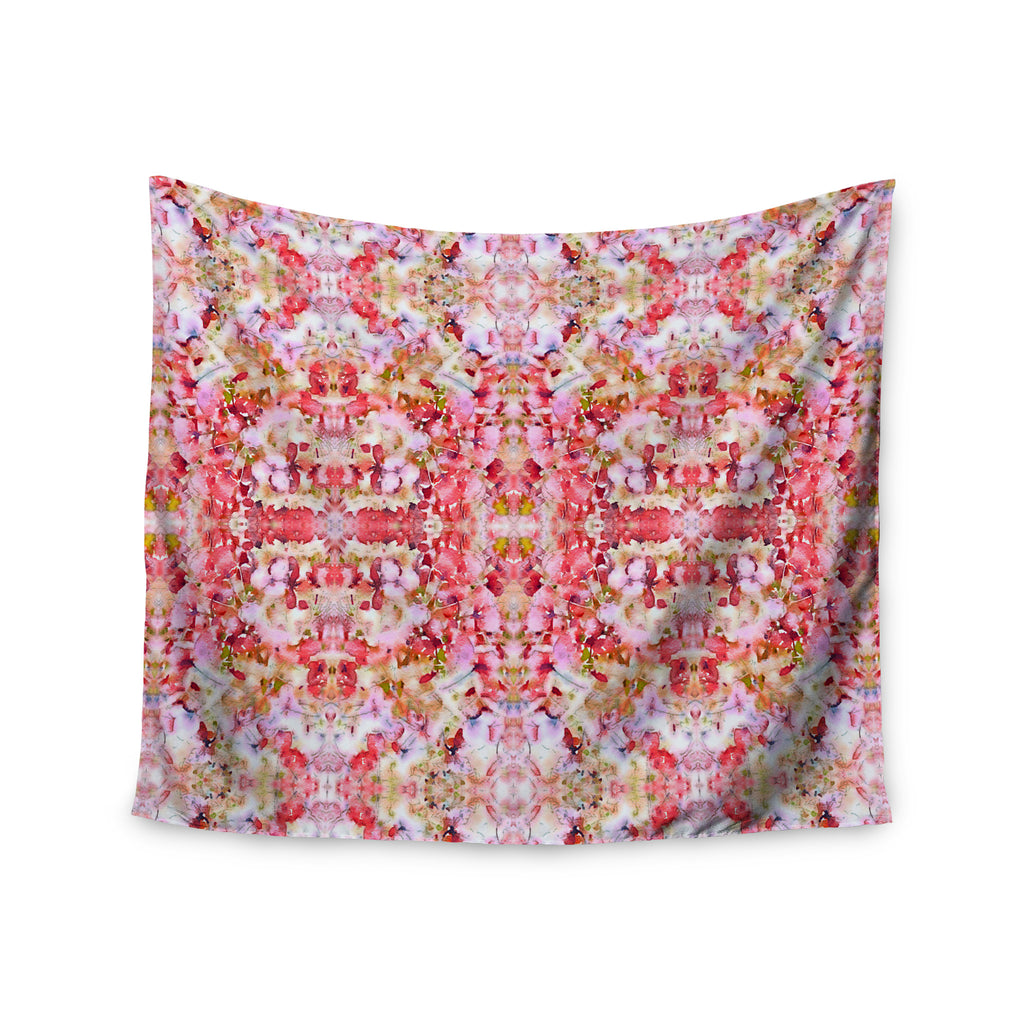 "Carolyn Greifeld ""Floral Reflections"" Pink Red Wall Tapestry - KESS InHouse  - 1"