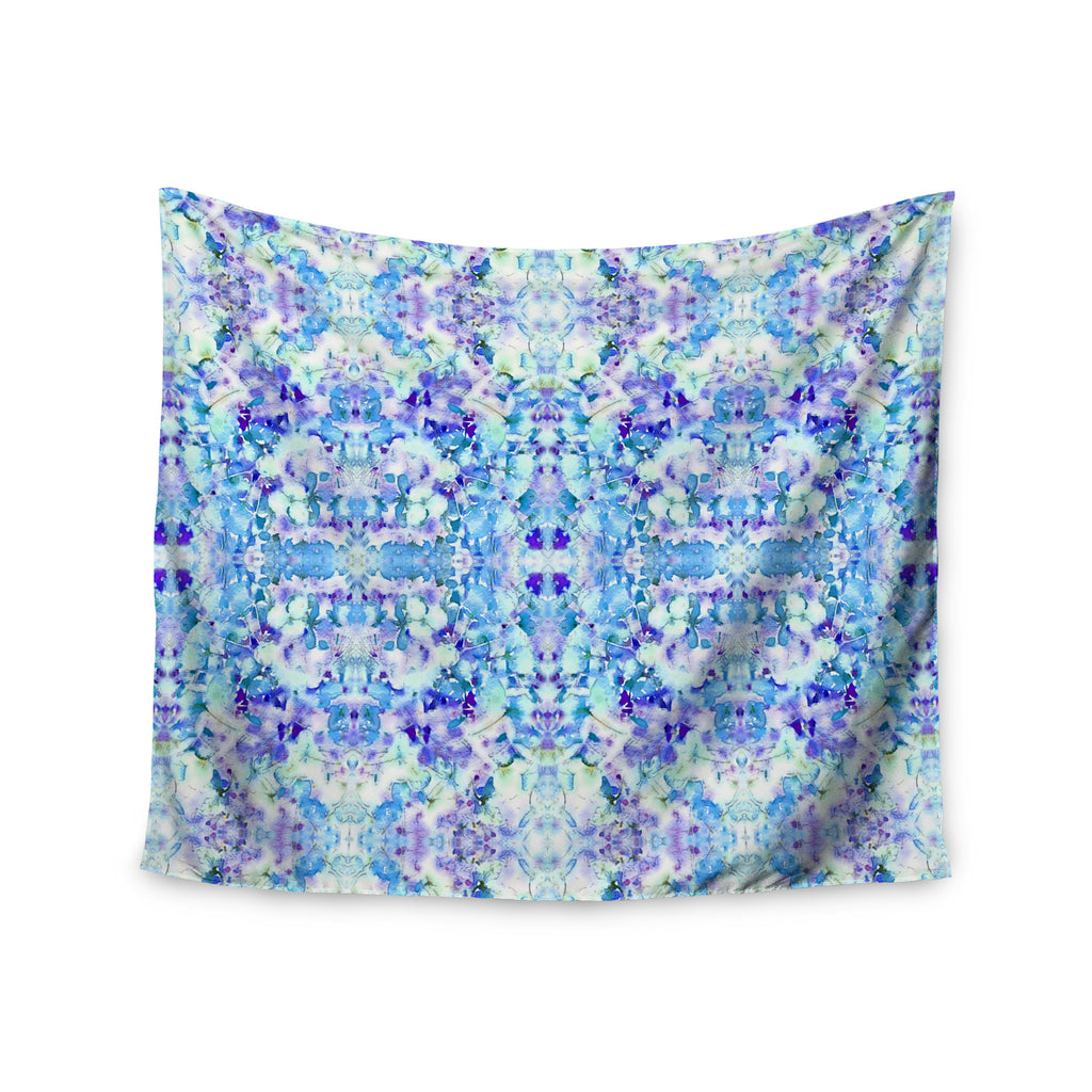 "Carolyn Greifeld ""Floral Fantasy Blue Reflection"" Purple White Wall Tapestry - KESS InHouse  - 1"