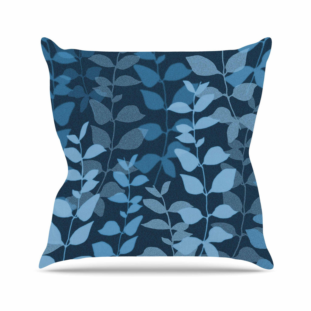 "Carolyn Greifeld ""Leaves Of Dreams"" Blue Outdoor Throw Pillow - KESS InHouse  - 1"