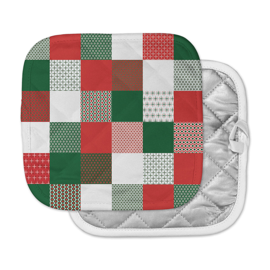 "Carolyn Greifeld ""Holiday Patchwork"" Red Green Pot Holder"