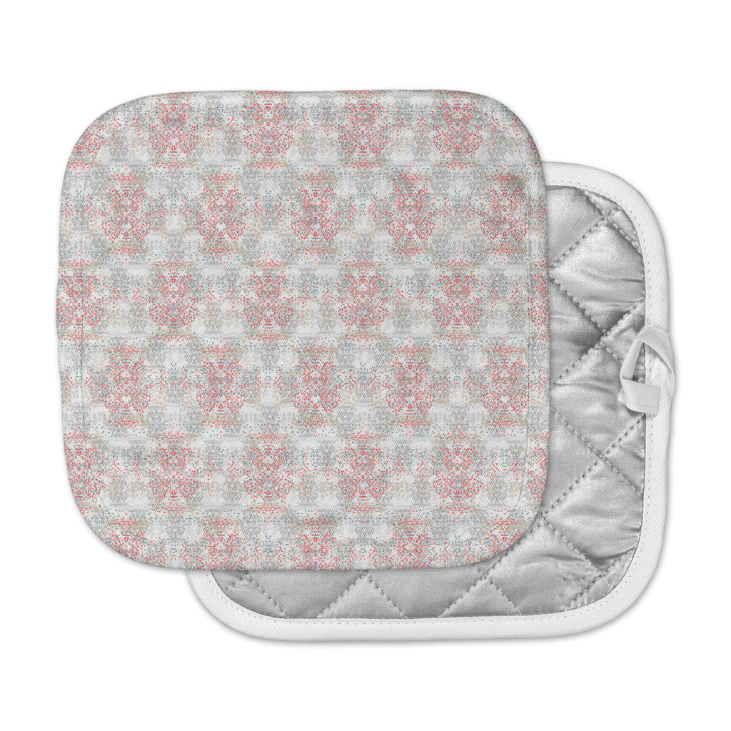 "Carolyn Greifeld ""Damask Splatter"" Pink Gray Pot Holder"