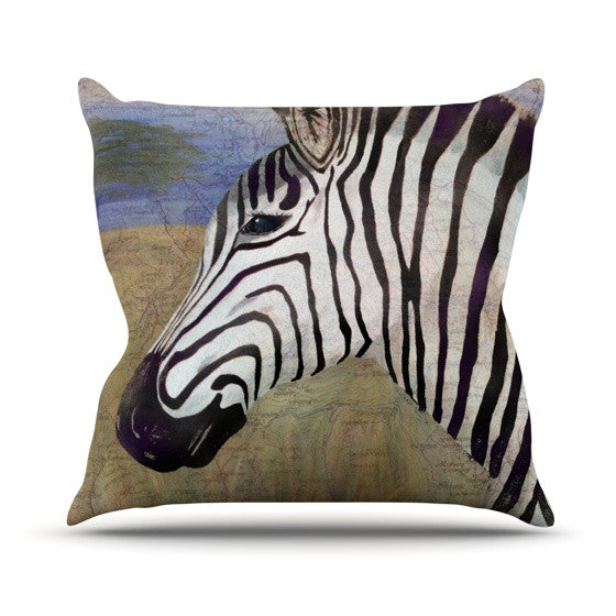 "Catherine Holcombe ""Zebransky"" Outdoor Throw Pillow - KESS InHouse  - 1"