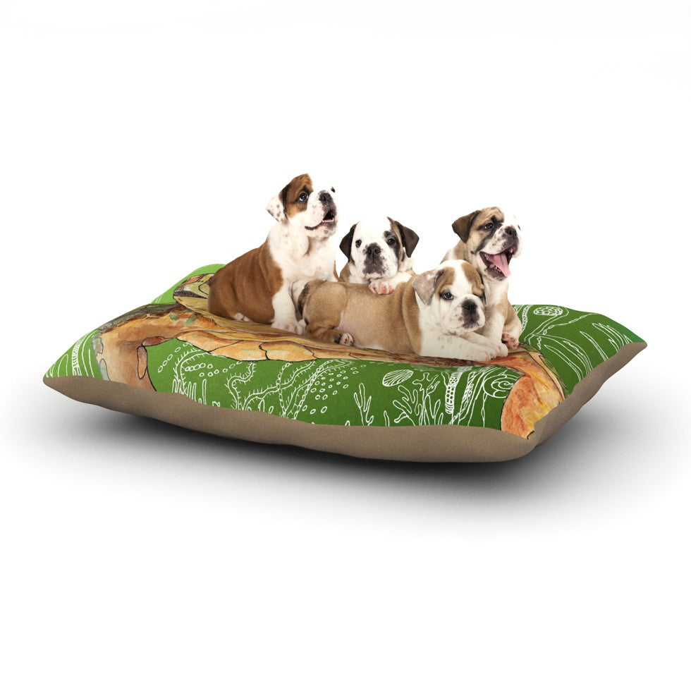 "Catherine Holcombe ""Shelley Green Sea"" Dog Bed - KESS InHouse  - 1"