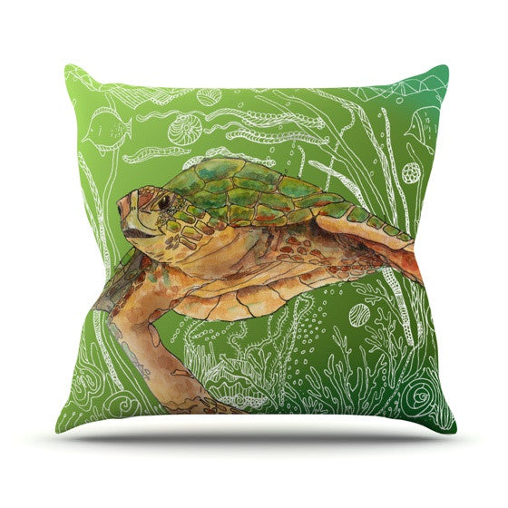 "Catherine Holcombe ""Shelley Green Sea"" Outdoor Throw Pillow - KESS InHouse  - 1"