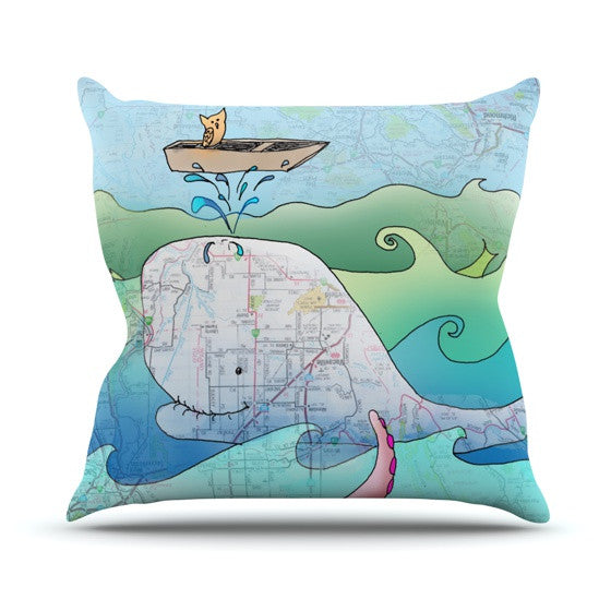 "Catherine Holcombe ""I'm on a Boat"" Outdoor Throw Pillow - KESS InHouse  - 1"