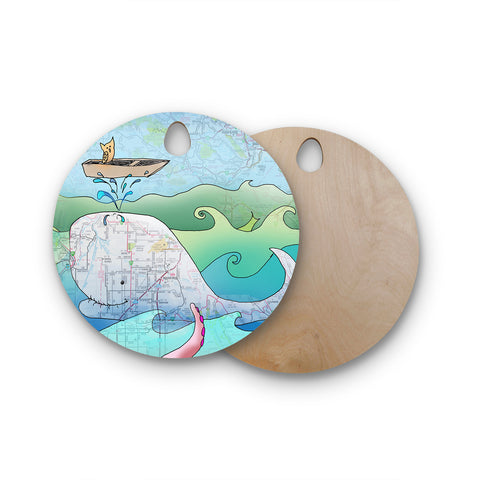 "Catherine Holcombe ""I'm on a Boat"" Round Wooden Cutting Board"