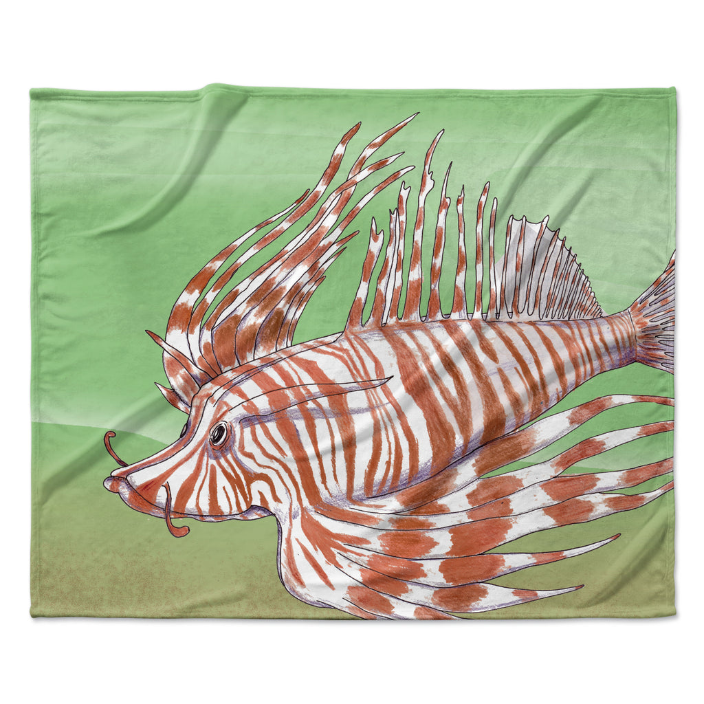 "Catherine Holcombe ""Fish Manchu"" Fleece Throw Blanket"