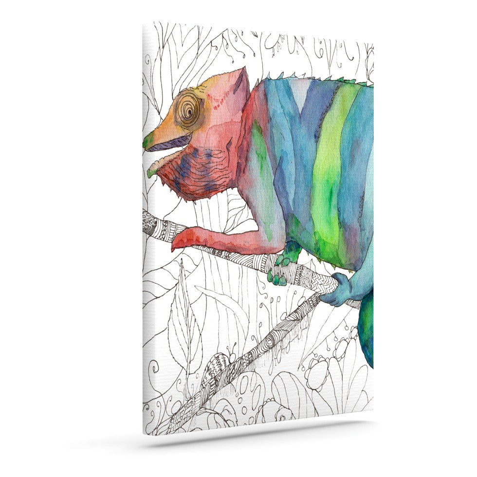 "Catherine Holcombe ""Chameleon Fall"" Outdoor Canvas Wall Art - KESS InHouse  - 1"