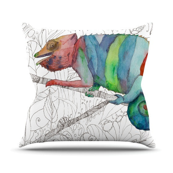 "Catherine Holcombe ""Chameleon Fail"" Outdoor Throw Pillow - KESS InHouse  - 1"