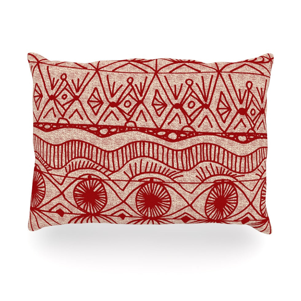 "Catherine Holcombe ""Cranberry and Cream"" Pattern Oblong Pillow - KESS InHouse"