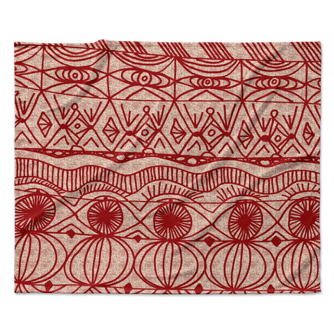 "Catherine Holcombe ""Cranberry and Cream"" Pattern Fleece Throw Blanket"