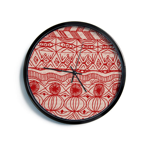 "Catherine Holcombe ""Cranberry and Cream"" Pattern Modern Wall Clock"