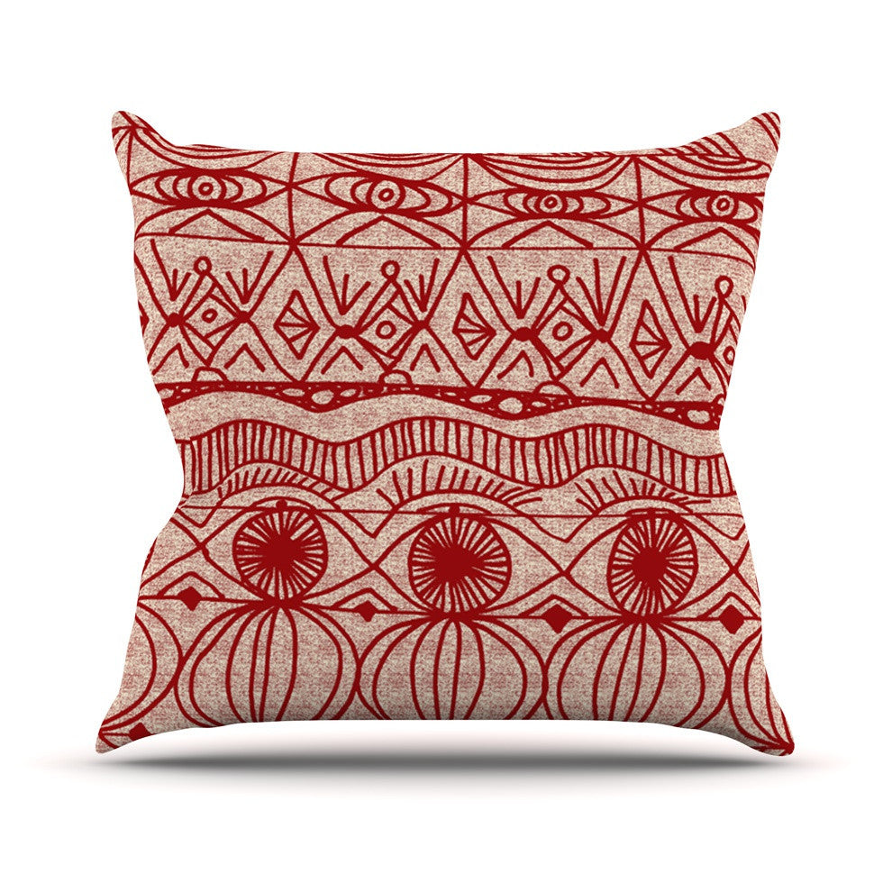 "Catherine Holcombe ""Cranberry and Cream"" Pattern Outdoor Throw Pillow - KESS InHouse  - 1"