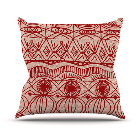 "Catherine Holcombe ""Cranberry and Cream"" Pattern Throw Pillow - KESS InHouse  - 1"