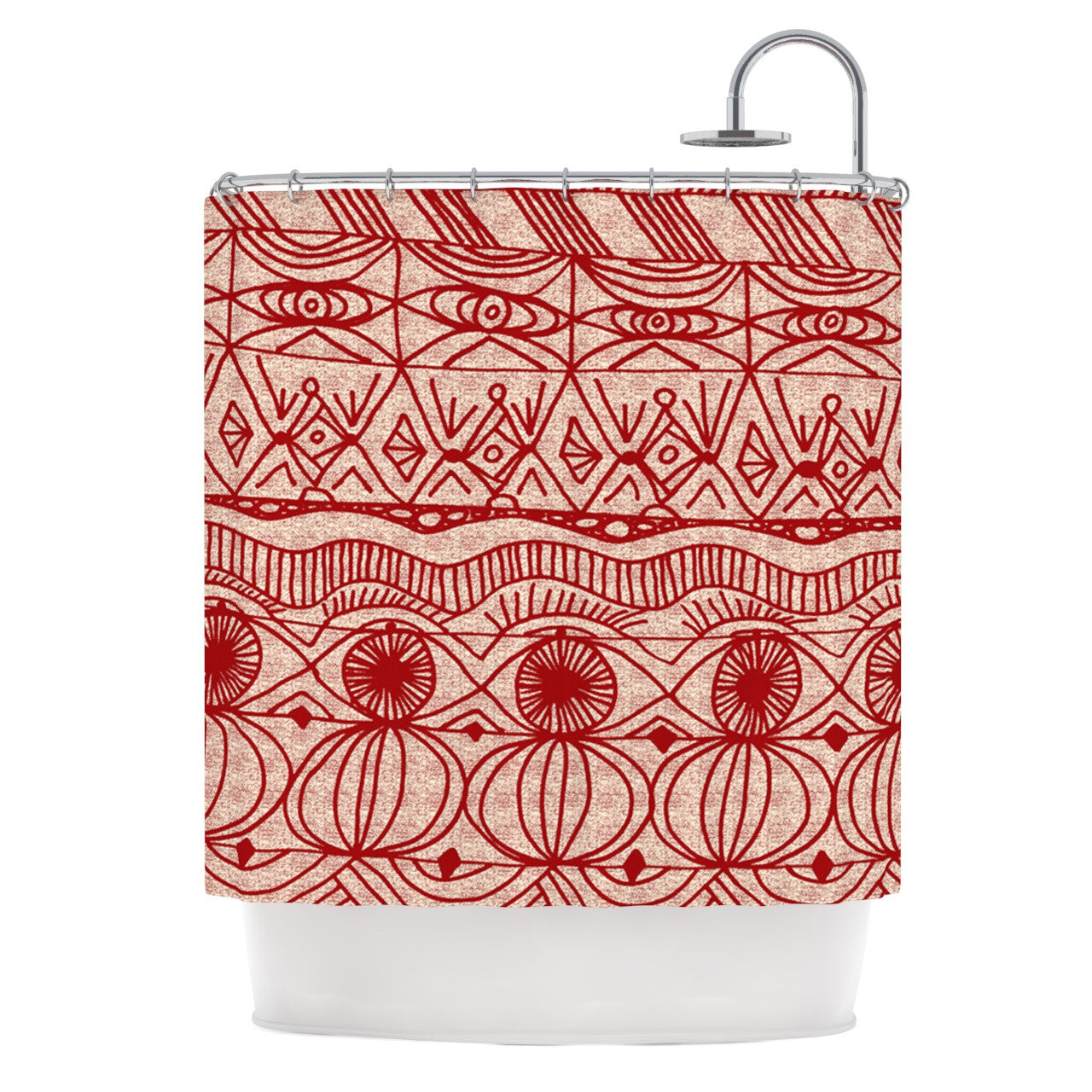 Catherine Holcombe Cranberry And Cream Pattern Shower Curtain