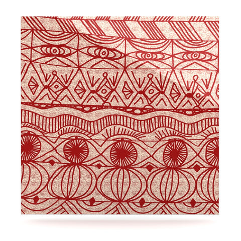 "Catherine Holcombe ""Cranberry and Cream"" Pattern Luxe Square Panel - KESS InHouse  - 1"