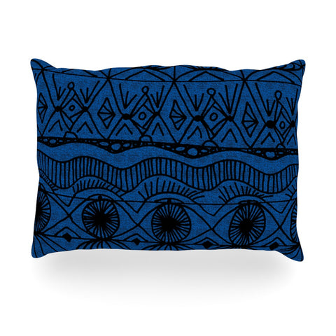 "Catherine Holcombe ""Black and Blue"" Pattern Oblong Pillow - KESS InHouse"