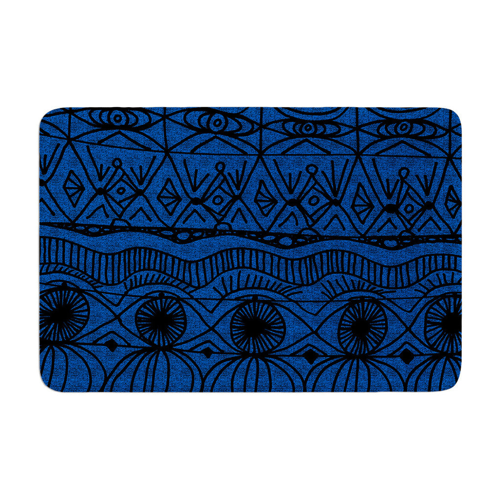 "Catherine Holcombe ""Black and Blue"" Pattern Memory Foam Bath Mat - KESS InHouse"