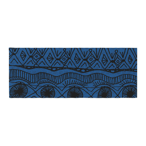 "Catherine Holcombe ""Black and Blue"" Pattern Bed Runner - KESS InHouse"