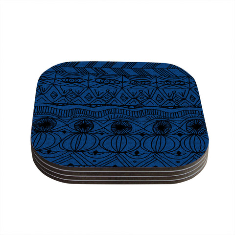 "Catherine Holcombe ""Black and Blue"" Pattern Coasters (Set of 4)"