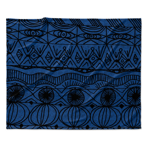 "Catherine Holcombe ""Black and Blue"" Pattern Fleece Throw Blanket"