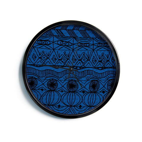 "Catherine Holcombe ""Black and Blue"" Pattern Modern Wall Clock"