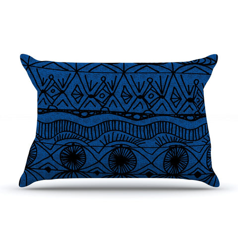 "Catherine Holcombe ""Black and Blue"" Pattern Pillow Sham - KESS InHouse"