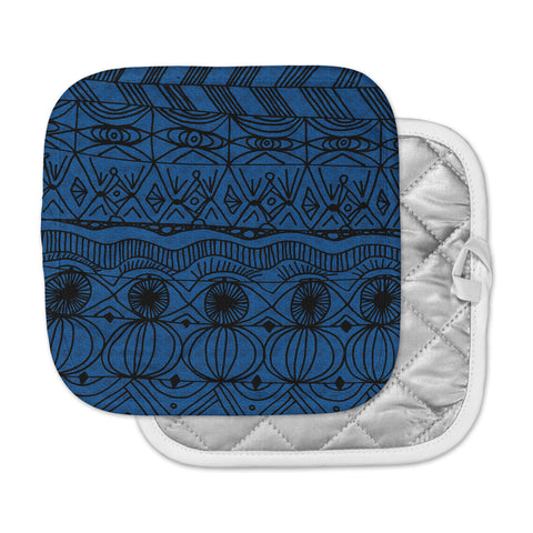 "Catherine Holcombe ""Black and Blue"" Pattern Pot Holder"