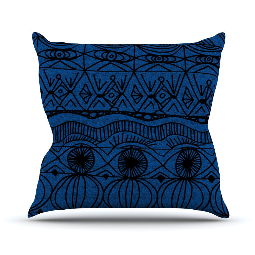 "Catherine Holcombe ""Black and Blue"" Pattern Outdoor Throw Pillow - KESS InHouse  - 1"