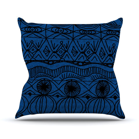 "Catherine Holcombe ""Black and Blue"" Pattern Throw Pillow - KESS InHouse  - 1"